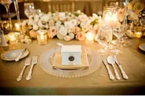 Gold and cream table setting.